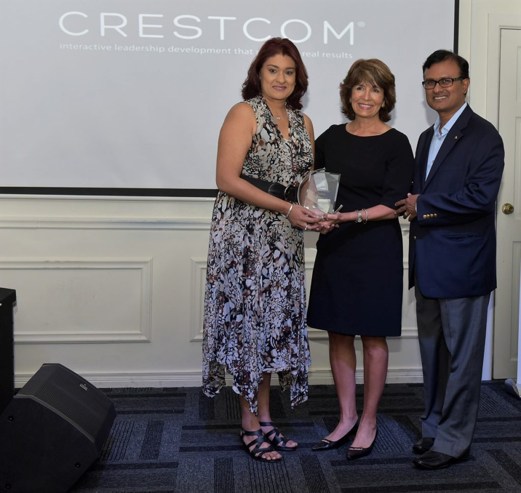 Renata Tulsie of Crestcom Carribean, Tammy R, Berberick, Global President and CEO of Crestcom International, Ram Ramesh of Crestcom Carribean