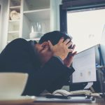 Describing the frustration business people may have at work. Stuck in a career rut.